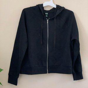 XXL Fleece Jacket  Hooded Long Sleeve Zipper Black